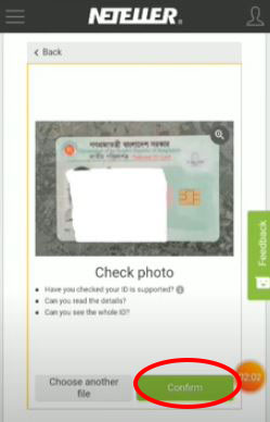 Click confirm to Upload the fornt side of the ID card