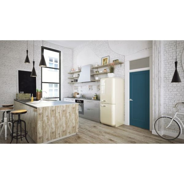 Blue lincoln park moulded interior door in white, rustic looking kitchen with island