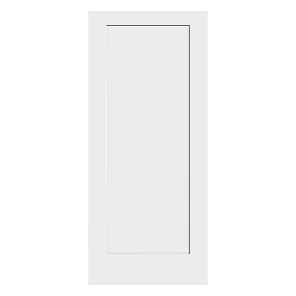 white primed 1 panel shaker door product photo