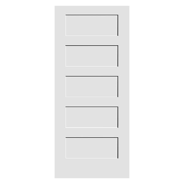 white primed 5 panel shaker door product photo