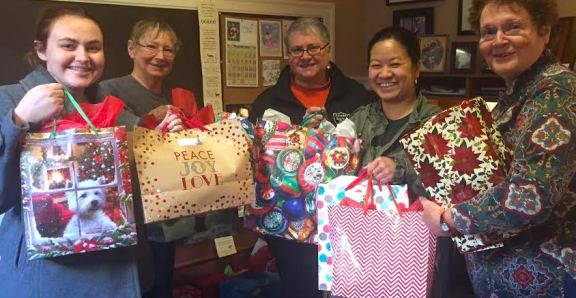 Collecting donated Christmas gifts