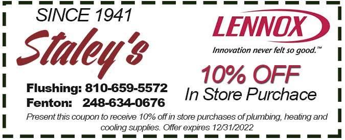 in store coupon for plumbing heating or air conditioning parts