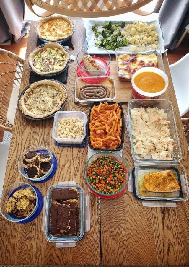 preparation du batch cooking hebdomadaire pour les boites a lunchs au quebec