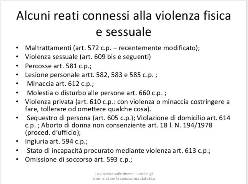 reati connessi alla violenza