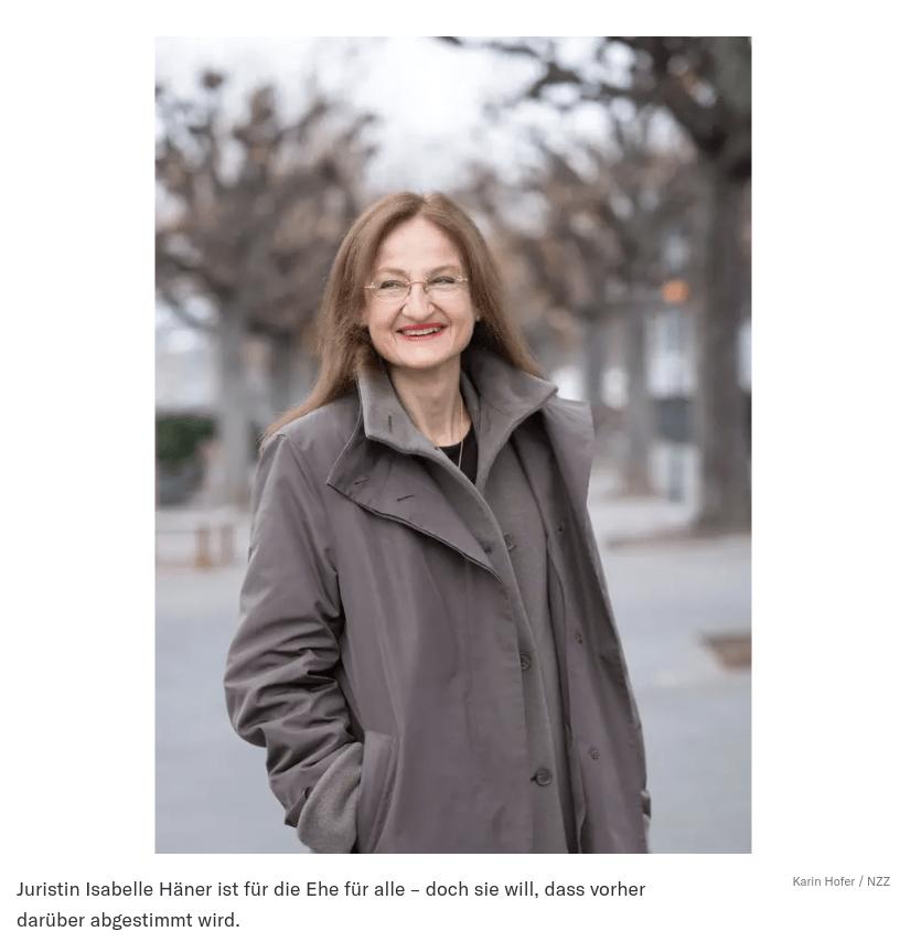 Juristin Isabelle Häner ist für die Ehe für alle – doch sie will, dass vorher darüber abgestimmt wird.