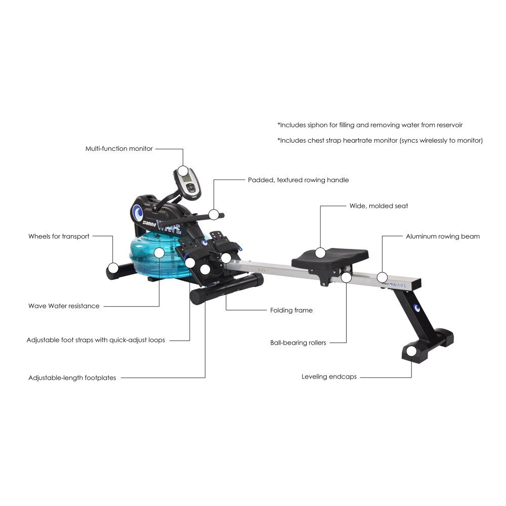 medium resolution of stamina elite wave water rowing machine 1450