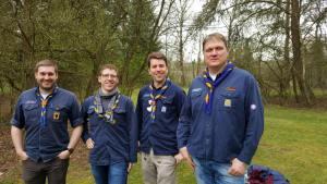 Alte Stammesführung: (von links) Daniel Burkey, Dominik Meisinger, Christian Weidig, Jürgen Divivier