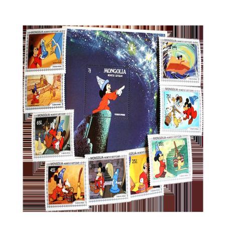 1983 Mongolia Disney 1290-1298 and 1299 Souvenir Sheet Postage Stamps