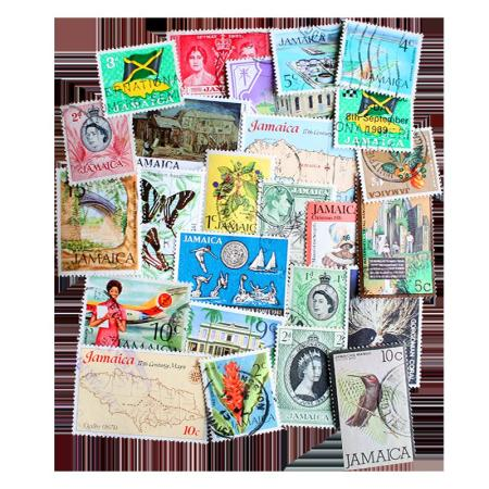 25 Differnt Jamaica Postage Stamps