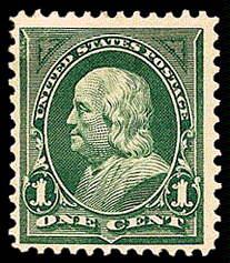 1¢ Franklin - deep green