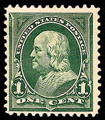 1¢ Franklin - deep green