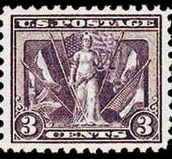 "3¢ ""Victory & Flags"" - violet"
