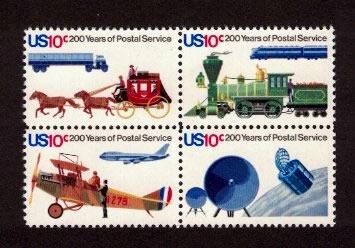 USPS Bicentennial 10 cent Stamp Block of 4.
