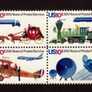 USPS Bicentennial 10 cent Stamp Block of 4.