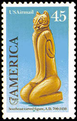 United States Airmail Stamps - 1989 - 1990 Commemoratives - 45¢ Pre-Columbian Customs Southeast Carved Figures