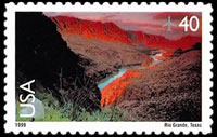 United States Airmail Stamps - 1999 - 2012 Scenic American Landscapes - 40¢ Rio Grande(1999)