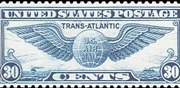 United States Airmail Stamps - 1939 Trans-Atlantic Winged Globe - 30¢ dull blue