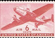 United States Airmail Stamps - 1941 - 1944 Transport Issue - 6¢ Transport Plane