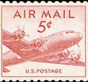 United States Airmail Stamps - 1947 - 5¢ DC-4 Skymaster