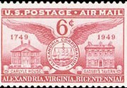 United States Airmail Stamps - 1949 - 6¢ Alexandria Bicentennial