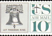 United States Airmail Stamps - 1959 - 1960 Regular Issues - 10¢ Liberty Bell (1960)