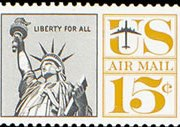 United States Airmail Stamps - 1961 - 15¢ Statue of Liberty Re-drawn