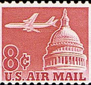 United States Airmail Stamps - 1962 - 8¢ Plane & Capitol
