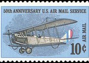 United States Airmail Stamps - 1968 - 1969 - 10¢ 50th Anniv. Airmail