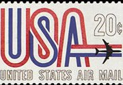 United States Airmail Stamps - 1968 - 1969 - 20¢ U.S.A. Plane