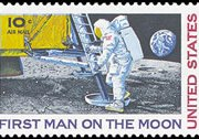 United States Airmail Stamps - 1968 - 1969 - 10¢ Man on Moon