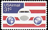 United States Airmail Stamps - 1976 - 31¢ Plane Flag & Globes