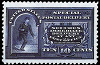 "United States Special Delivery Stamps - 1894 Line Under ""Ten Cents"" Unwatermarked - 10¢ blue"
