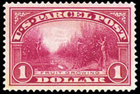 United States Parcel Post Stamps - 1912 - 1913 All Printed in Carmine Rose - 1$ Fruit Growing
