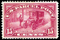 United States Parcel Post Stamps - 1912 - 1913 All Printed in Carmine Rose - 15¢ Auto Service