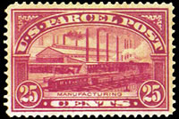 United States Parcel Post Stamps - 1912 - 1913 All Printed in Carmine Rose - 25¢ Manufacturing