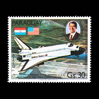 1981 Paraguay C490 Airmail Stamp - Space Shuttle Columbia