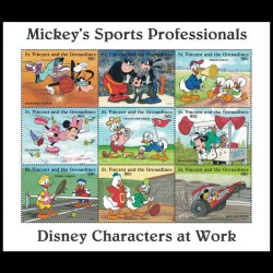 Mickey's Sports Professionals Stamp Sheet