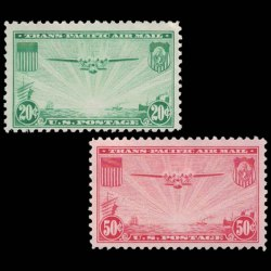 US Airmail Stamp Set - 1937 US 50 cent C21 & C22