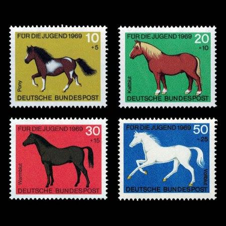 1969 German Semi-Postal Stamp Set - Horses