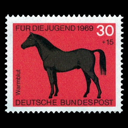 1969 German Semi-Postal Stamp #B444 - Hotblood Horse
