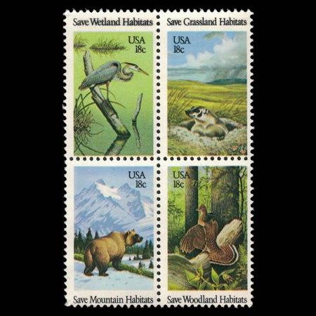 1981 US Stamp Block - Wildlife Habitats