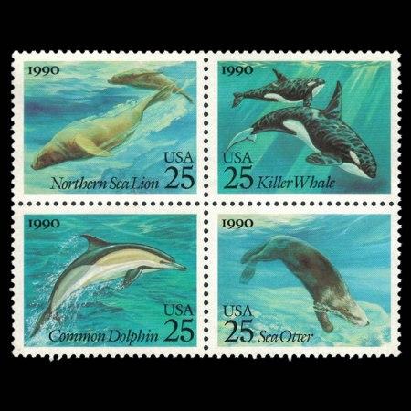 US Stamp Block - Ocean Life