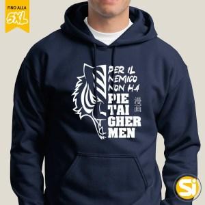 Felpa uomo tigre con cappuccio -colore blu