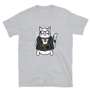 Maglietta unisex grigio con gatto