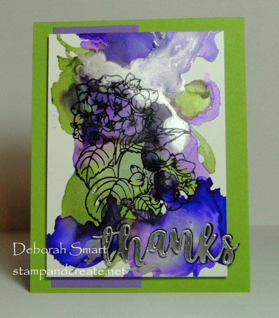 Stamping On Alcohol ink Background