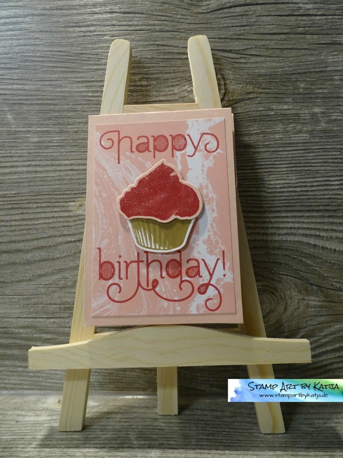 Geburtstagskarte inklusive Gutschein in Rosa