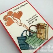 BIRTHDAY PURSES WITH METALLIC HEART BALLOONS