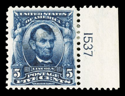 304SE, 5c Blue, with small Specimen. overprint type E, two examples, one with vertical overprint in top left margin, other a most unusual plate no. 1537 single with theoverprint diagonally across the center, deep rich colors, o.g., h.r., very