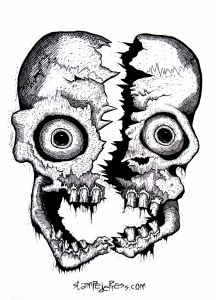 Cleaved Skull Woodcut