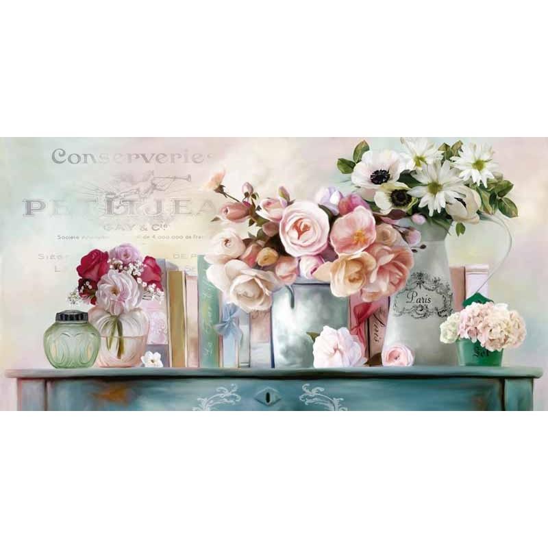 Svegliati con un trittico color seppia dietro alla testiera del letto, lascia che i ragazzi si. Robinson Paris Petit Amazing Flowers Ready To Hang Picture For Home Decor In Green And White